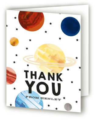Planet Party Children's Birthday Party Thank You Cards