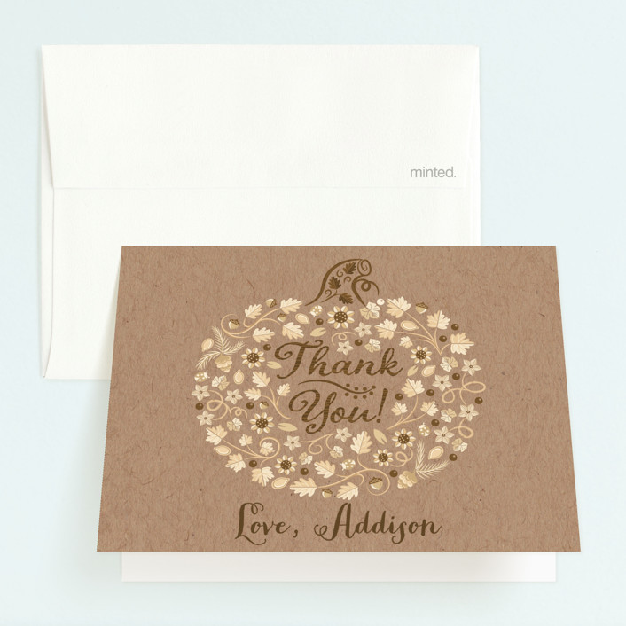 """""""Little Pumpkin"""" - Childrens Birthday Party Thank You Cards in Kraft by Paper Sun Studio."""