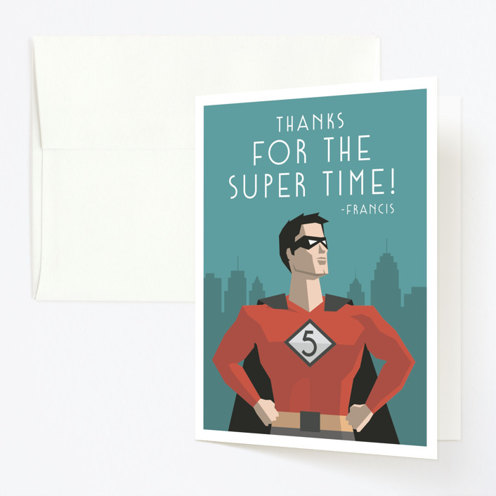 """""""Calling All Superheroes"""" - Childrens Birthday Party Thank You Cards in Fire by Jessica Prout."""