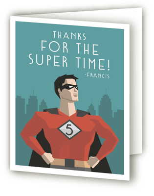 Calling All Superheroes Children's Birthday Party Thank You Cards