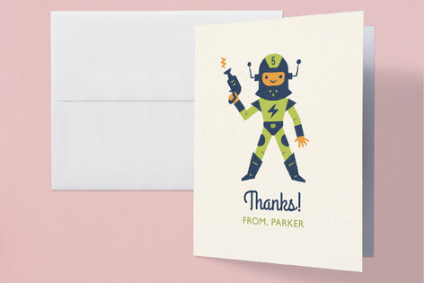 Captain Laser Childrens Birthday Party Thank You Cards