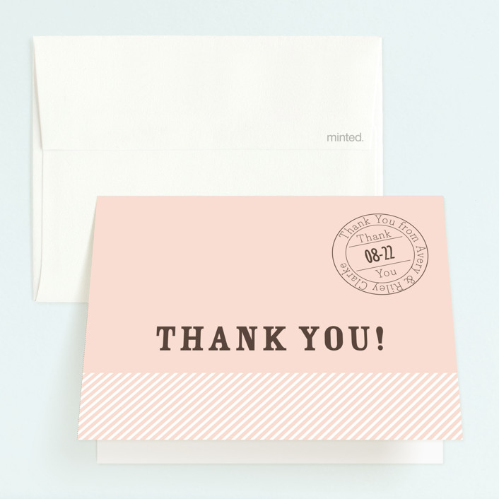 """Vintage Stripes"" - Childrens Birthday Party Thank You Cards in Soft Rose by BeachPaperCo."