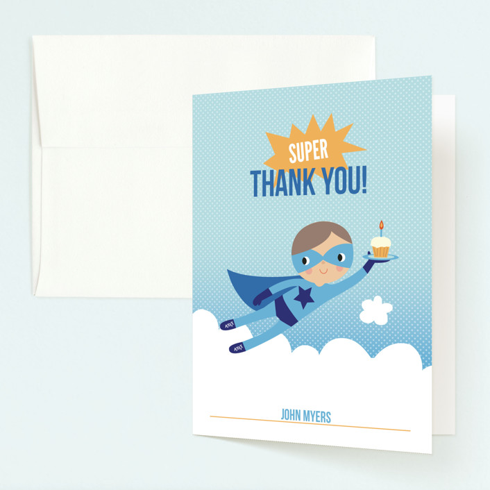 """Super Birthday Boy"" - Childrens Birthday Party Thank You Cards in Royal Blue by Tara Lilly Studio."