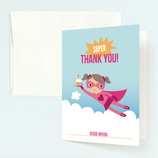 Super Birthday Girl Childrens Birthday Party Thank You Cards