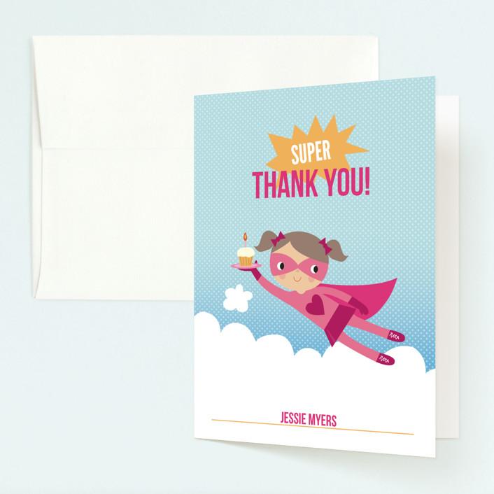 """Super Birthday Girl"" - Childrens Birthday Party Thank You Cards in Magenta by Tara Lilly Studio."