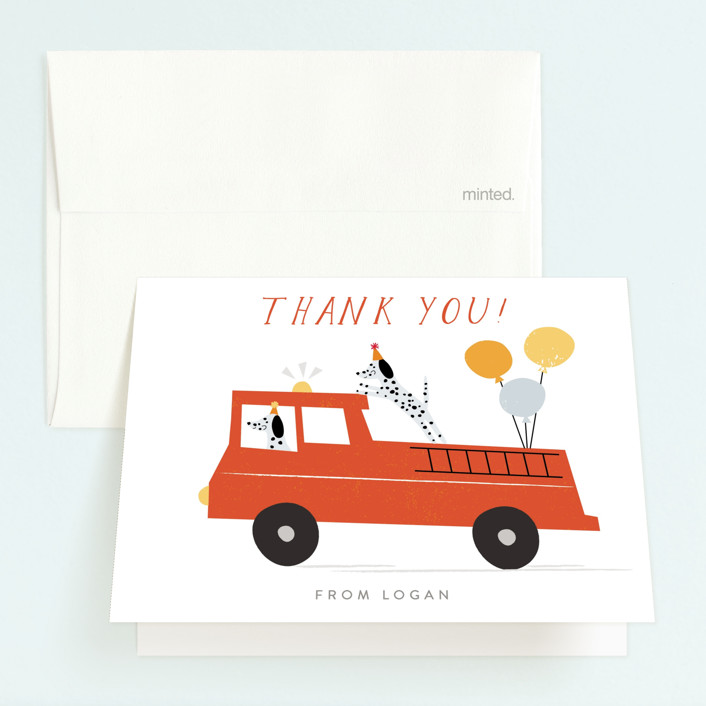 """""""Sound The Alarm!"""" - Childrens Birthday Party Thank You Cards in Dalmatian by Angela Thompson."""