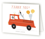 This is a white kids thank you card by Angela Thompson called Sound The Alarm! with standard printing on strathmore in standard.