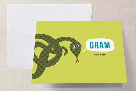 Snake Childrens Birthday Party Thank You Cards