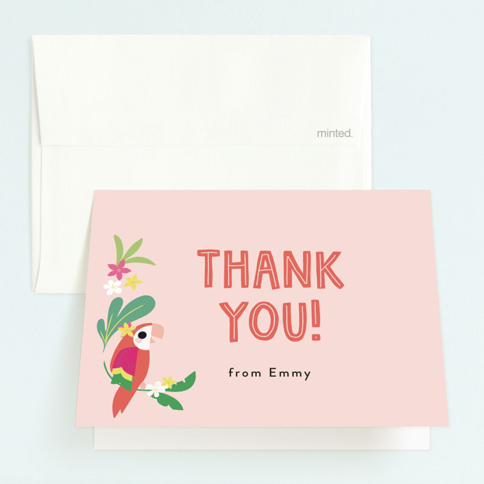 """""""Luau"""" - Childrens Birthday Party Thank You Cards in Petal by Itsy Belle Studio."""