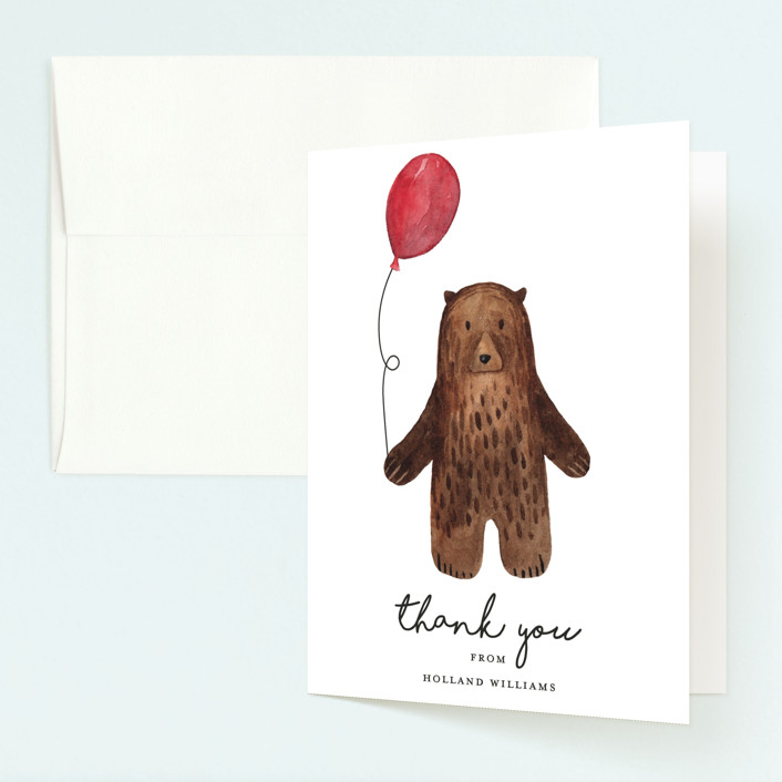 """""""Bear"""" - Childrens Birthday Party Thank You Cards in Red Candy by Remioni."""