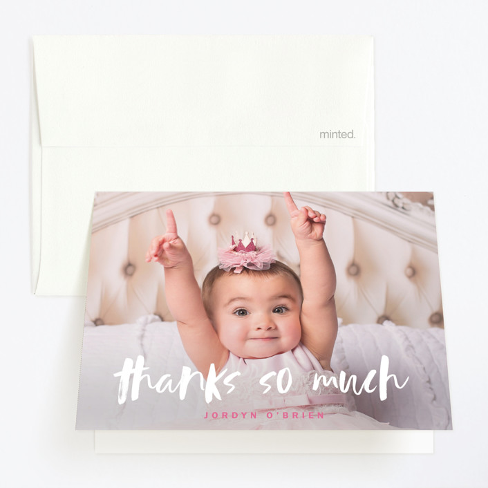 """Already"" - Childrens Birthday Party Thank You Cards in Berry Pink by Susan Brown."