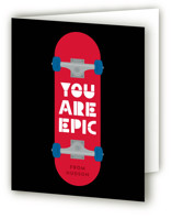 This is a red kids thank you card by Kacey Kendrick Wagner called Skateboard with standard printing on strathmore in standard.