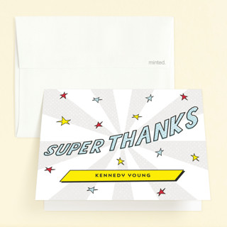Comic Superhero Childrens Birthday Party Thank You Cards