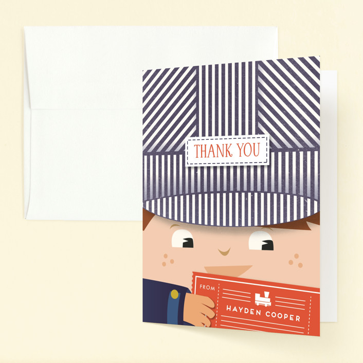 """""""Little Train Engineer"""" - Childrens Birthday Party Thank You Cards in Navy by Frooted Design."""