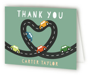 This is a green kids thank you card by Jennifer Lew called Little Racer with standard printing on strathmore in standard.