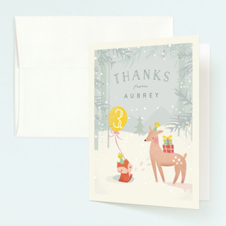 Winter Childrens Birthday Party Thank You Cards