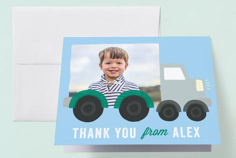 Truck Party Childrens Birthday Party Thank You Cards