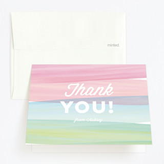 Watercolor Wishes Childrens Birthday Party Thank You Cards