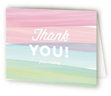 Watercolor Wishes Children's Birthday Party Thank You Cards