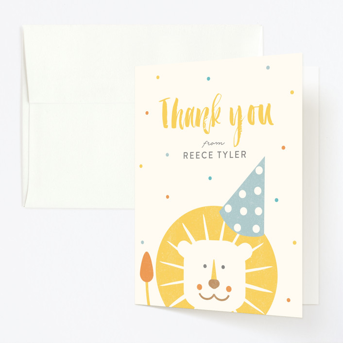 """""""Wild One"""" - Childrens Birthday Party Thank You Cards in Dandelion by Lisa Cersovsky."""