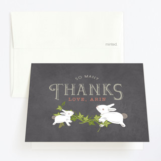 Two are Thee Childrens Birthday Party Thank You Cards