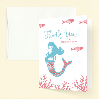 Darling Mermaid Childrens Birthday Party Thank You Cards