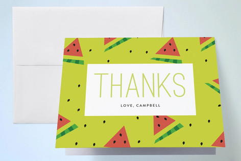 Watermelon Fun Childrens Birthday Party Thank You Cards