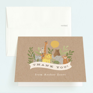 Zoo friends Childrens Birthday Party Thank You Cards