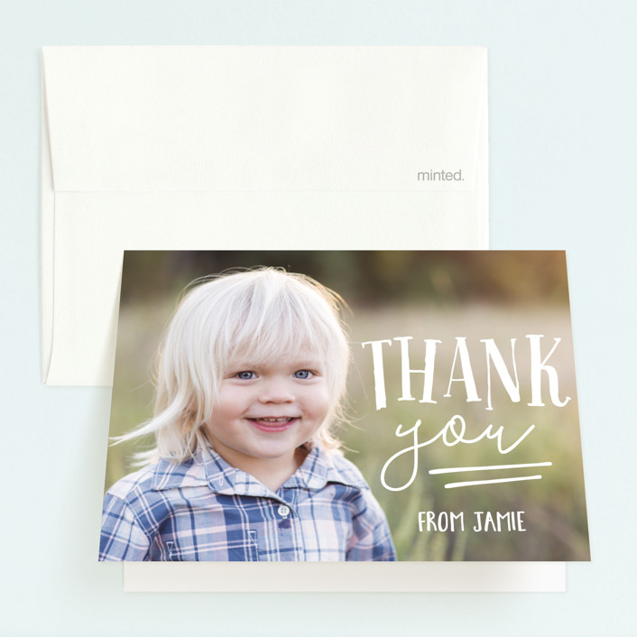 """""""Oink & Moo"""" - Childrens Birthday Party Thank You Cards in Candy Apple by Jessie Steury."""