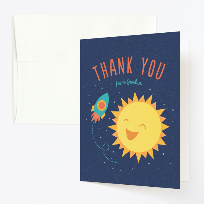 """Around The Sun"" - Childrens Birthday Party Thank You Cards in Midnight by Cat Caudillo."