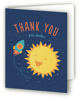 This is a blue kids thank you card by Cat Caudillo called Around The Sun with standard printing on strathmore in standard.