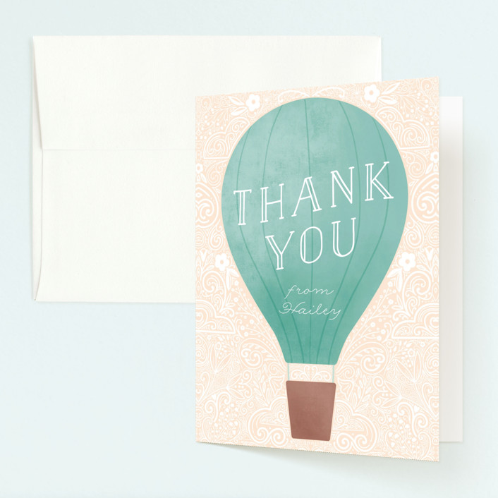 """""""Hot Air Balloon Birthday"""" - Childrens Birthday Party Thank You Cards in Teal by Noonday Design."""