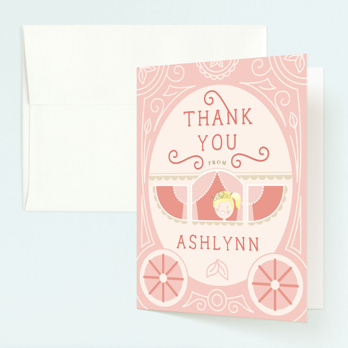 """Princess Carriage"" - Childrens Birthday Party Thank You Cards in Cherry Blossom by Erin Niehenke."