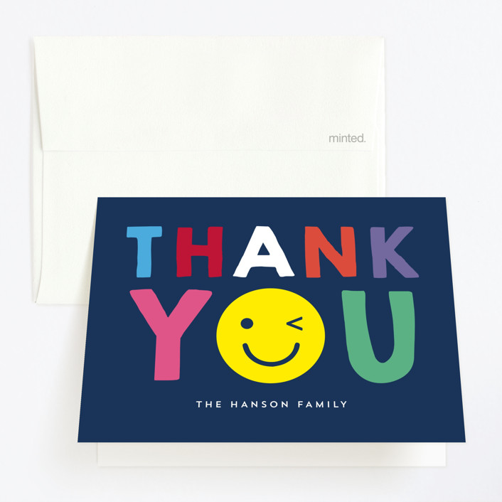 """Emoji Party"" - Childrens Birthday Party Thank You Cards in Navy by Baumbirdy."