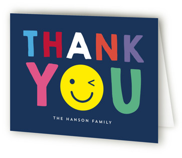 Emoji Party Children's Birthday Party Thank You Cards