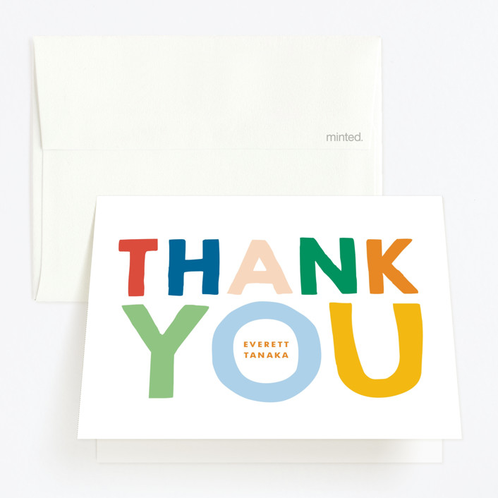 """""""This Guy"""" - Childrens Birthday Party Thank You Cards in Spectrum by Baumbirdy."""