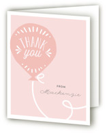 This is a pink kids thank you card by Chasity Smith called Balloon with standard printing on strathmore in standard.