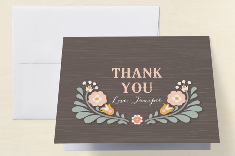Folksy Flower Birthday Childrens Birthday Party Thank You Cards