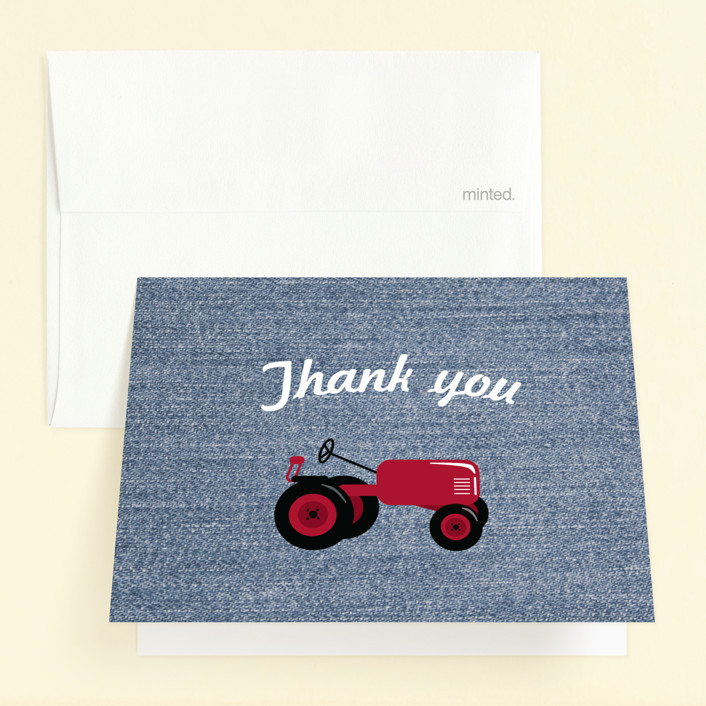 """""""A Tractor Pull"""" - Childrens Birthday Party Thank You Cards in Kraft by Two Ninjas."""