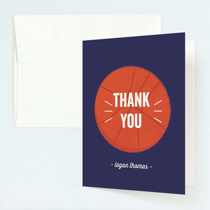 """Game Night"" - Childrens Birthday Party Thank You Cards in Navy by Anupama."