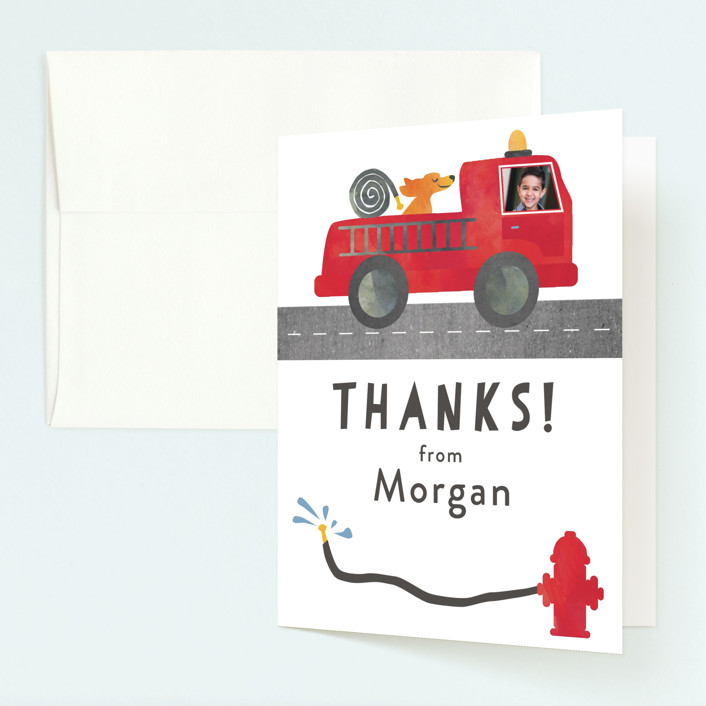 """Little Fireman"" - Childrens Birthday Party Thank You Cards in Ruby by Kanika Mathur."