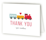 This is a red kids thank you card by Sandra Picco Design called Birthday Train with standard printing on strathmore in standard.