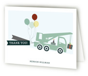 This is a green kids thank you card by Rebecca Bowen called Trucks on Parade with standard printing on strathmore in standard.