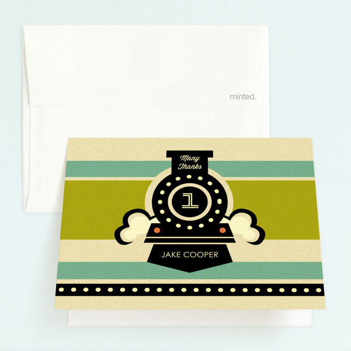 """""""Vintage Rail"""" - Childrens Birthday Party Thank You Cards in Teal by Smudge Design."""