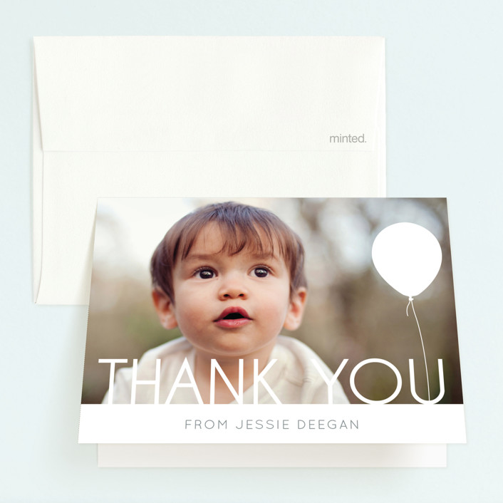 """""""Balloon Party"""" - Childrens Birthday Party Thank You Cards in White by Erin Deegan."""