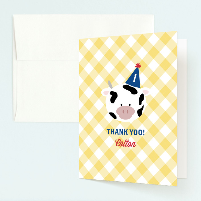 """""""Barnyard Crew"""" - Childrens Birthday Party Thank You Cards in Sky Blue by Leslie Ann Jones."""