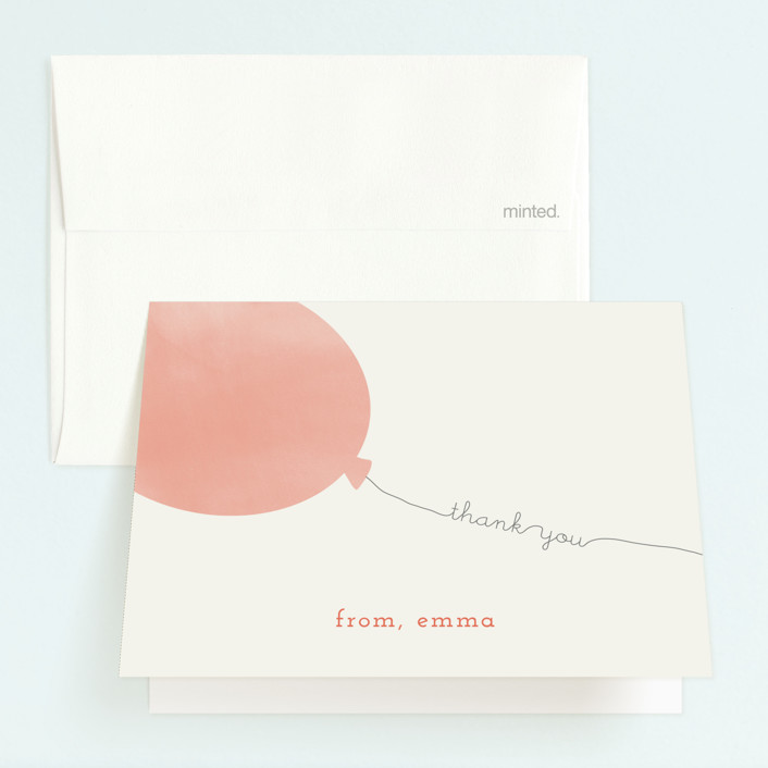 """""""Simple Balloon"""" - Childrens Birthday Party Thank You Cards in Coral by peony papeterie."""