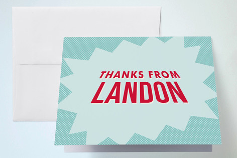 Comic Book Superhero Childrens Birthday Party Thank You Cards