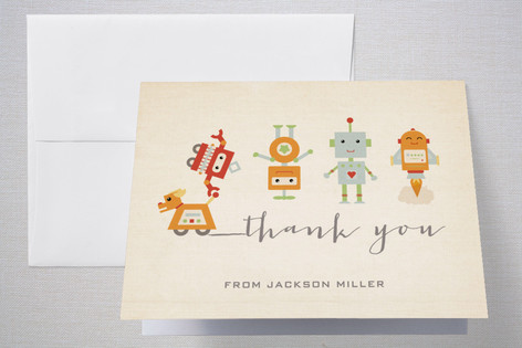 Robot Parade Childrens Birthday Party Thank You Cards