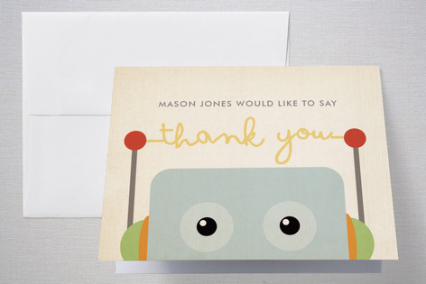 Robots Like to Party Childrens Birthday Party Thank You Cards